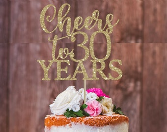 Cheers To 30 Years 30th Birthday Cake Topper Decoration Party Milestone Gold