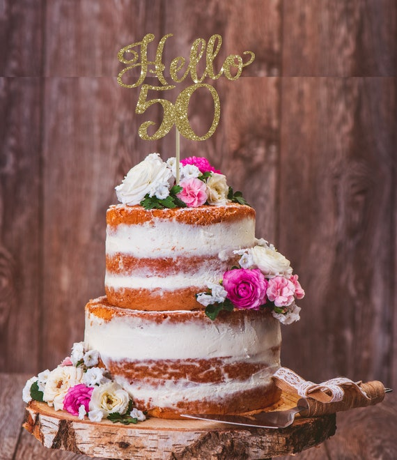 Peachy Hello 50Th 50Th Birthday Cake Topper 50Th Birthday Decor Etsy Funny Birthday Cards Online Fluifree Goldxyz