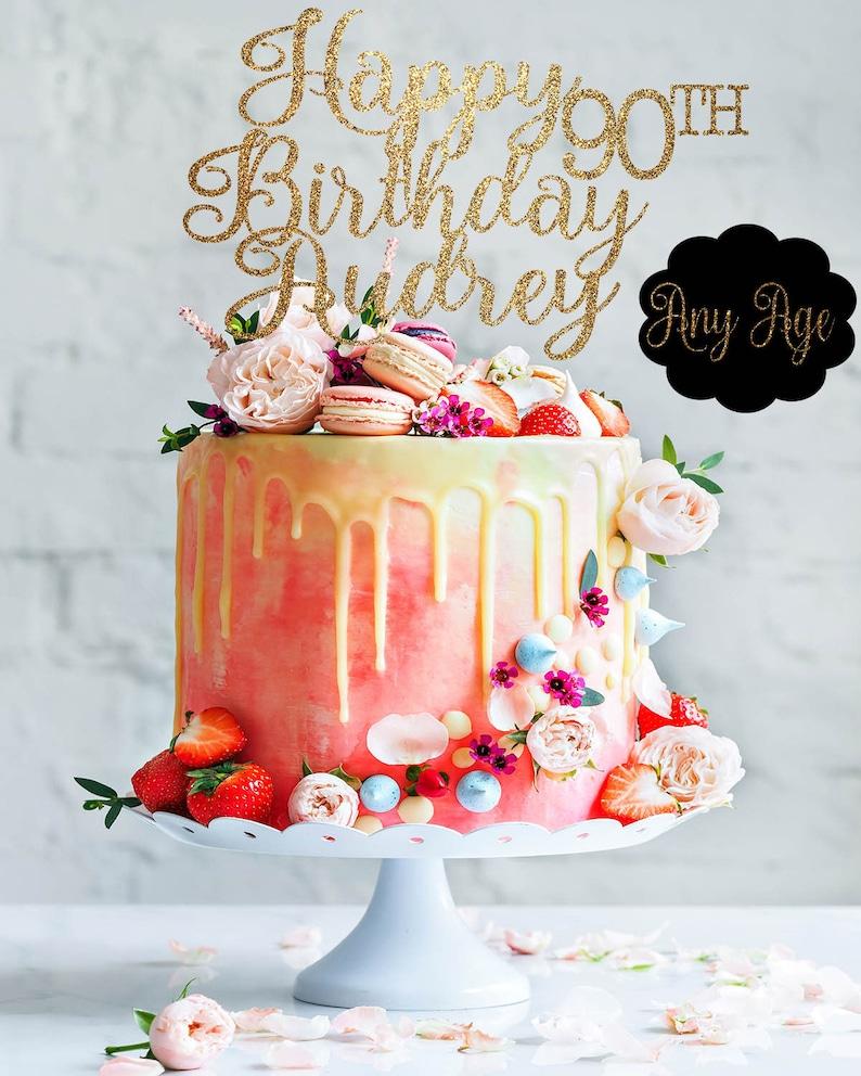 90 Cake Topper Birthday Custom Gold