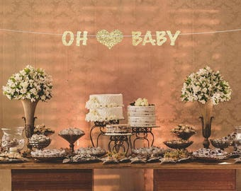 oh baby banner, oh baby garland, baby shower banner, baby banner, baby shower decor, gold baby shower decor, oh baby sign