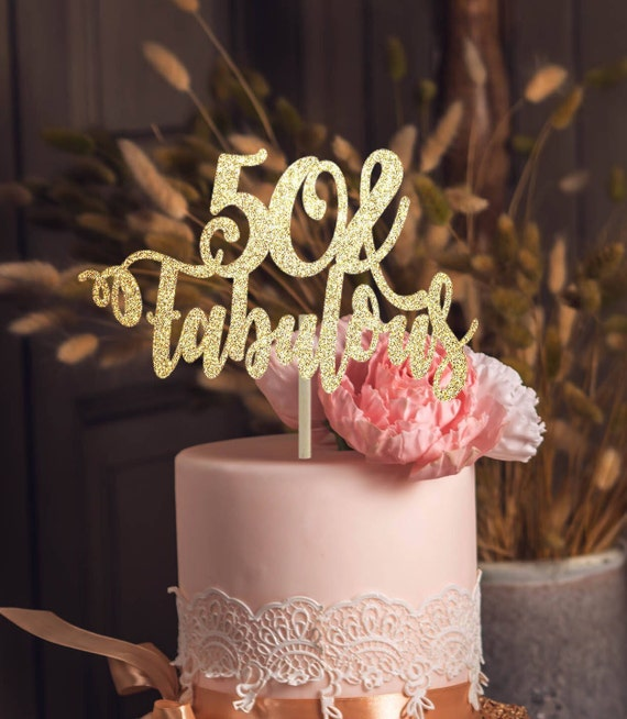 50th And Fab: 50 And Fabulous Cake Topper 50th Birthday Topper 50th