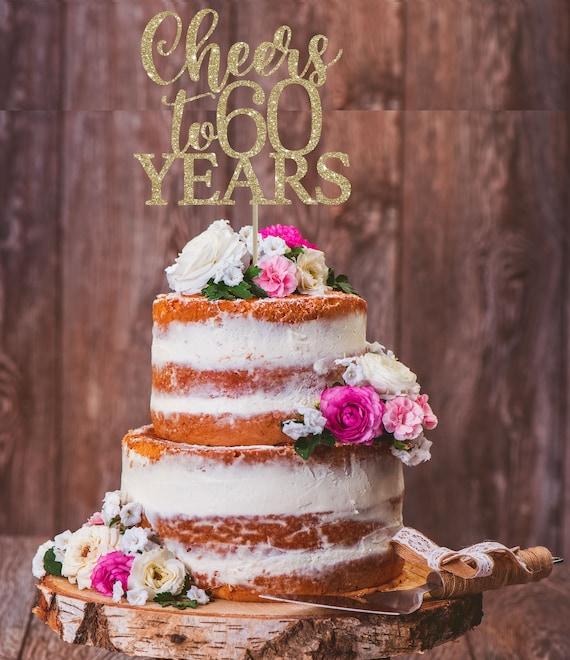 Cheers To 60 Years 60th Birthday Cake Topper 60 Birthday