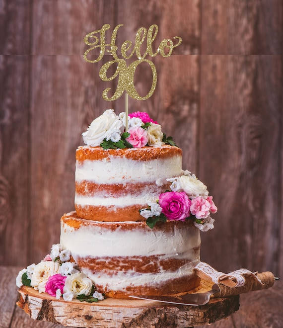 Pleasing Hello 90Th 90Th Birthday Cake Topper 90Th Birthday Decor Etsy Funny Birthday Cards Online Elaedamsfinfo