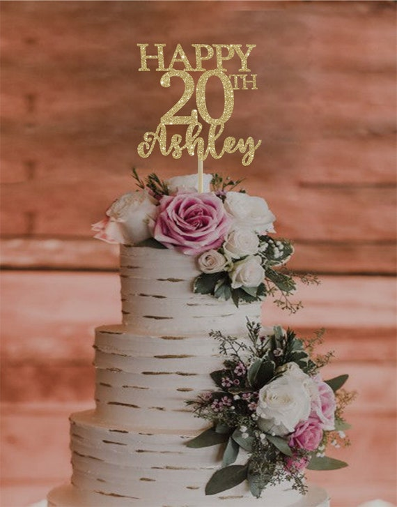 Magnificent 20Th Birthday Cake Topper Any Age Cake Topper Happy 20Th Etsy Personalised Birthday Cards Veneteletsinfo