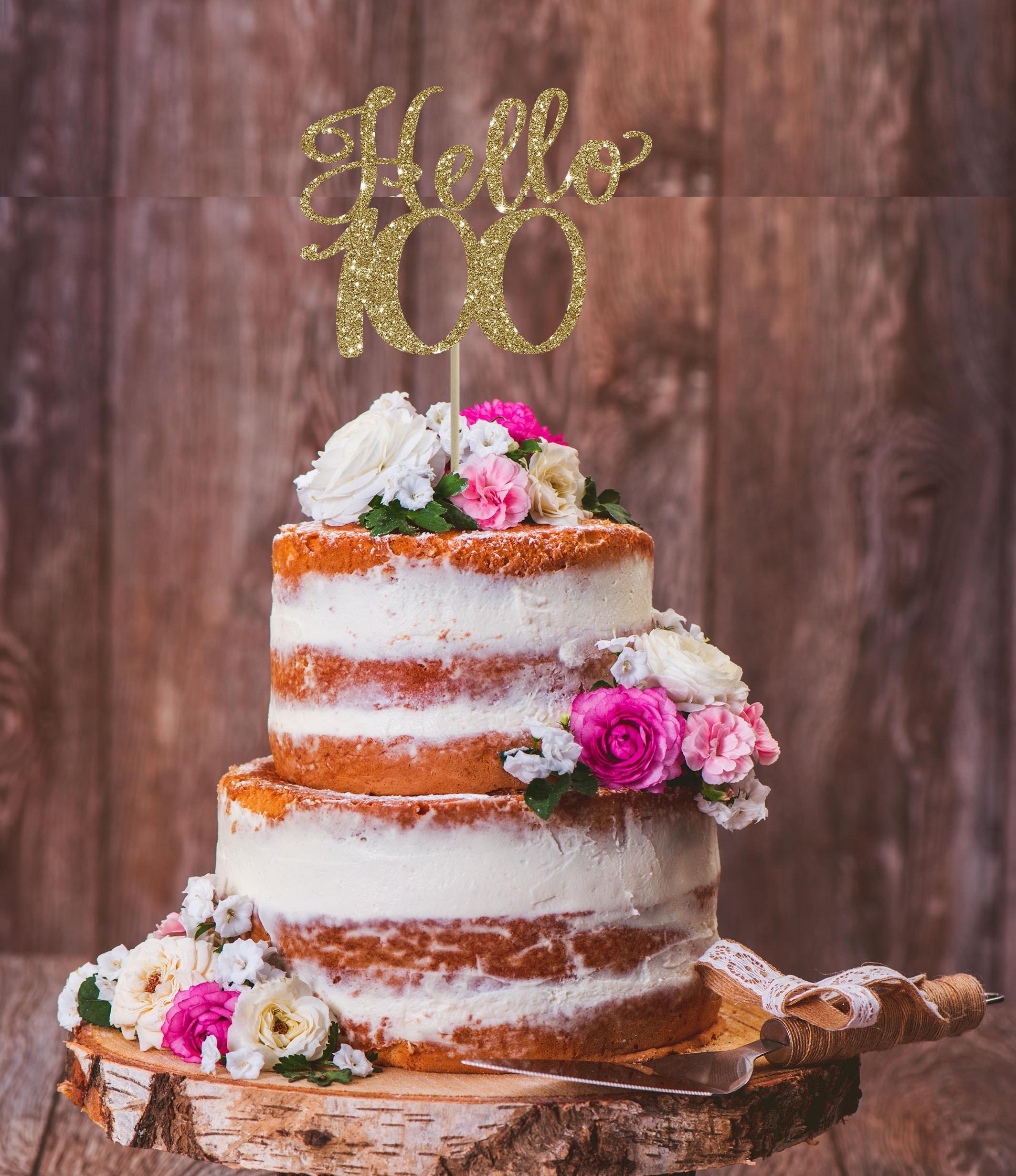 Hello 100th Birthday Cake Topper