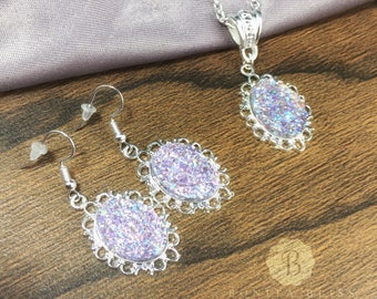 Light Purple Victorian Oval Druzy Necklace and Earring Set, Bright Silver Necklace