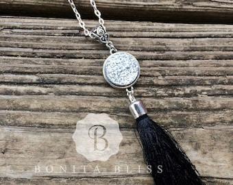 Silver Druzy Tassel Statement Necklace, Silver Tassel Necklace, 18mm Druzy Tassel Necklace, Long Tassel Necklace, Special Occasion Necklace