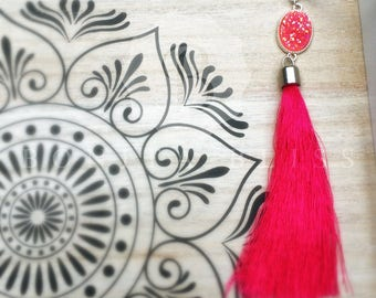 Pink Oval Druzy Tassel Necklace, Pink Druzy Necklace