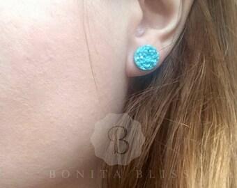Light Blue Druzy Stud Earrings, Light Blue Earrings, Blue Studs, Light Blue Earring Studs, LIght Blue Drusy