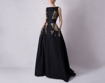 Long evening dress - hand painted silk taffeta ; sleeveless evening dress ; black gown ; glamorous details