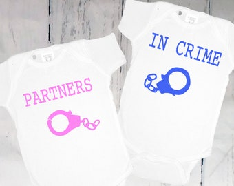 PARTNERS IN CRIME- Funny Baby Clothes, Funny Onsies, Funny Baby Shirts,Twin Onesies