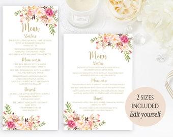 printable party menu template wedding menu cards menu cards editable menu card template printable menu editable pdf instant download blooms