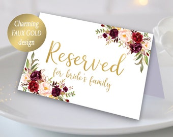 Reserved Table Sign Etsy