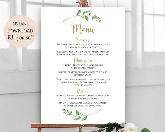 Party Menu Template Wedding Menu Cards Menu Cards Editable Etsy