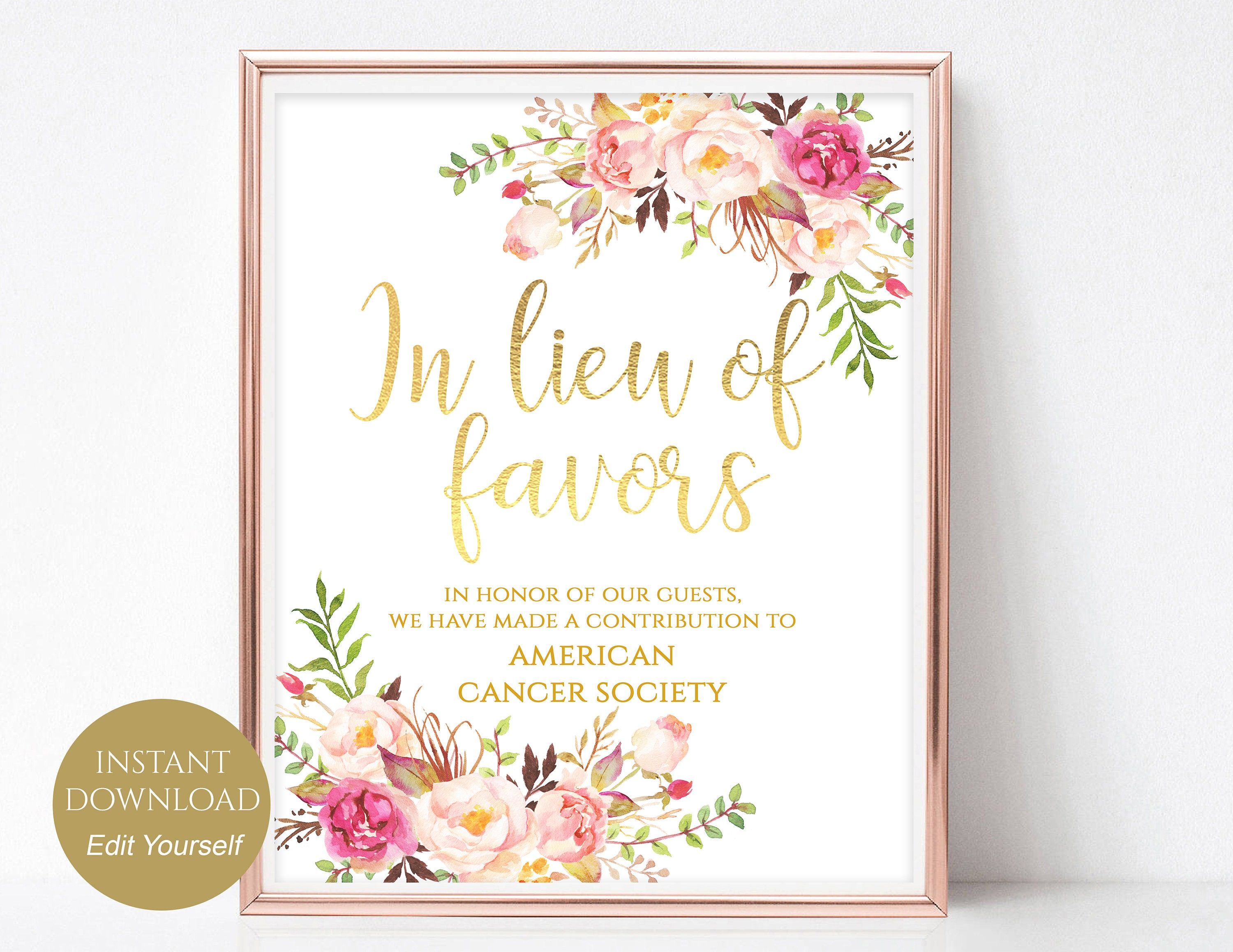 In Lieu of Favors Sign Donation Sign Favors Sign Favors | Etsy