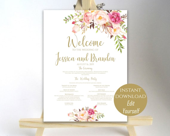 wedding program sign welcome wedding sign wedding sign wedding
