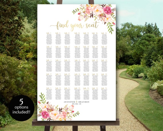 large seating chart template 5 sizes up to 350 editable etsy