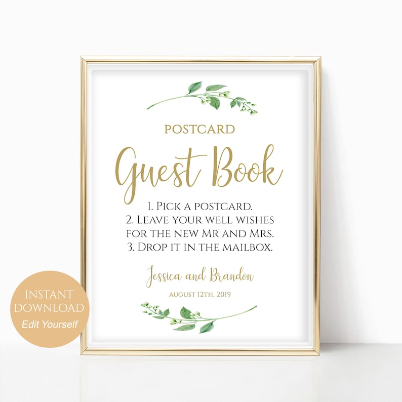 photograph relating to Printable Guest Book referred to as Printable Postcard Guestbook Indication Printable Visitor Guide Indicator Marriage ceremony Guestbook Option Gust Ebook Marriage ceremony Templates 4x6, 5x7, 8x10 Jasmine