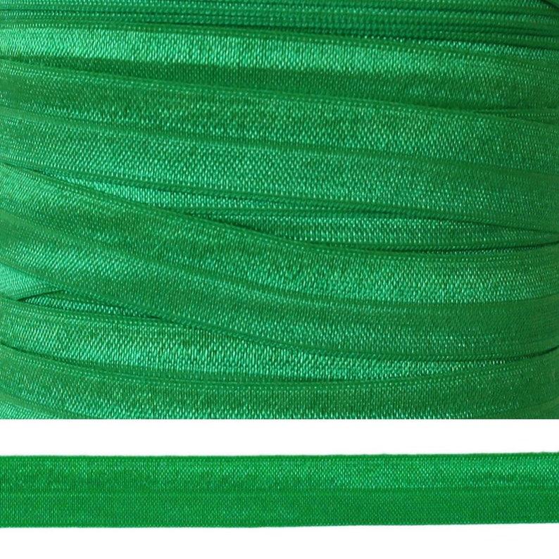 Green Ribbon 58 Elastic Solid Fold Over Elastic FOE 5 Yards EMERALD GREEN Fold Over Elastic Green Elastic