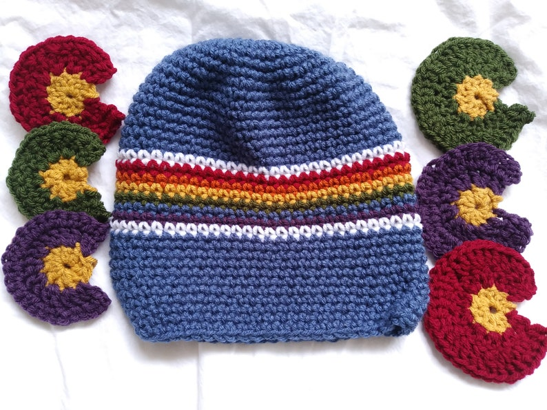 Colorado Gay Pride Winter Hat Beanie w/ Removable Pom Pom - Rainbow -  Choose C Color - LGBTQA - Denver Pride Fest - Large C is a POCKET!
