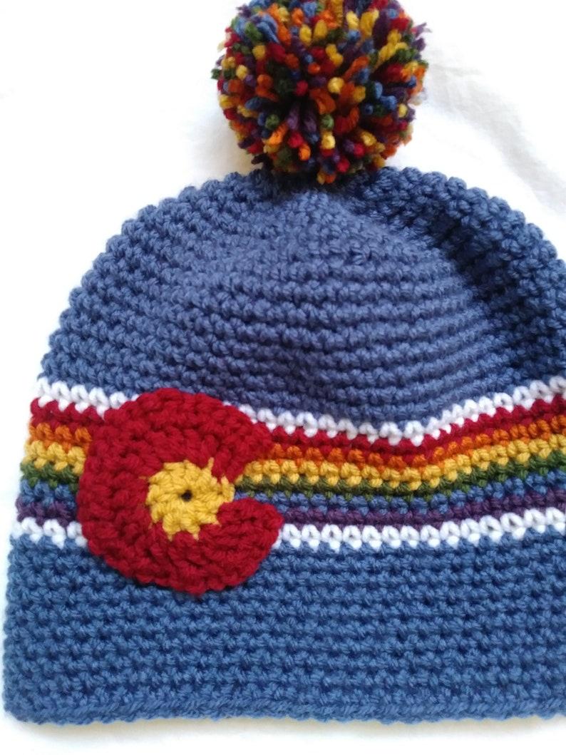 Colorado Gay Pride Winter Hat Beanie w/ Removable Pom Pom - Rainbow -  Choose C Color - LGBTQA - Denver Pride Fest - Large C is a POCKET!