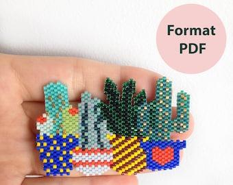 Tutoriel numérique: Lot de 7 diagrammes pour composer vous même votre jardin d'hiver, diagramme et modèle brickstitch, tissage perles miyuki