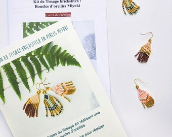 COMPLETE KIT: Weaving of Miyuki bead earrings, material and booklet of explanations / Introduction to brickstitch weaving