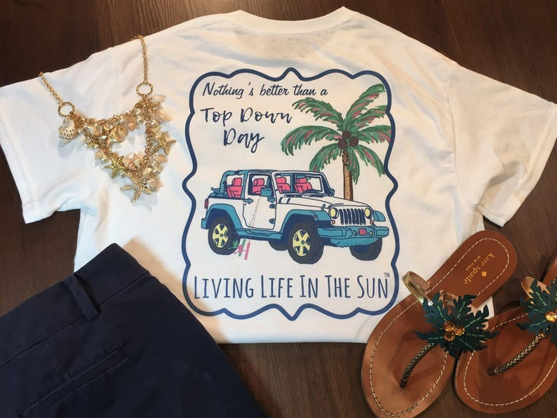 Jeep Shirt Beach Tees Shirts With Sayings Top Down Day Etsy