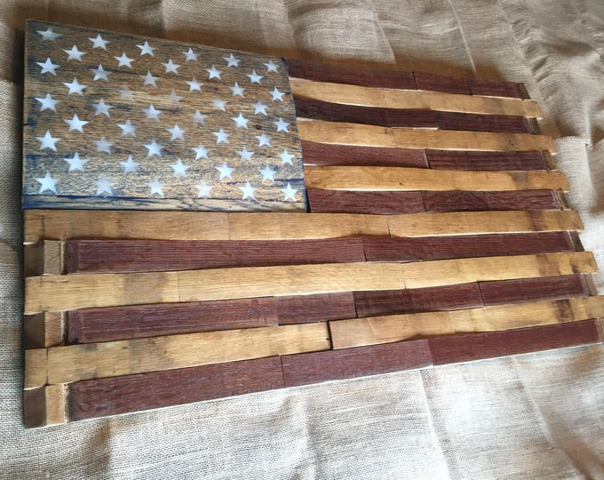 Featured listing image: Large Wine Barrel American Flag