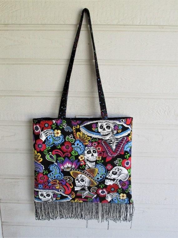 Large Handmade Skulls Handbag with Colorful Flowers Funky  9a3842cd8e