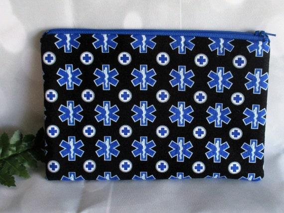8bbcb3001e1 Paramedic EMT EMS Cosmetic or Makeup Bags, Star of Life Zipper Pouch,  Handmade Pencil Pouch, Small Cotton Travel Bag, Gift for Preceptor
