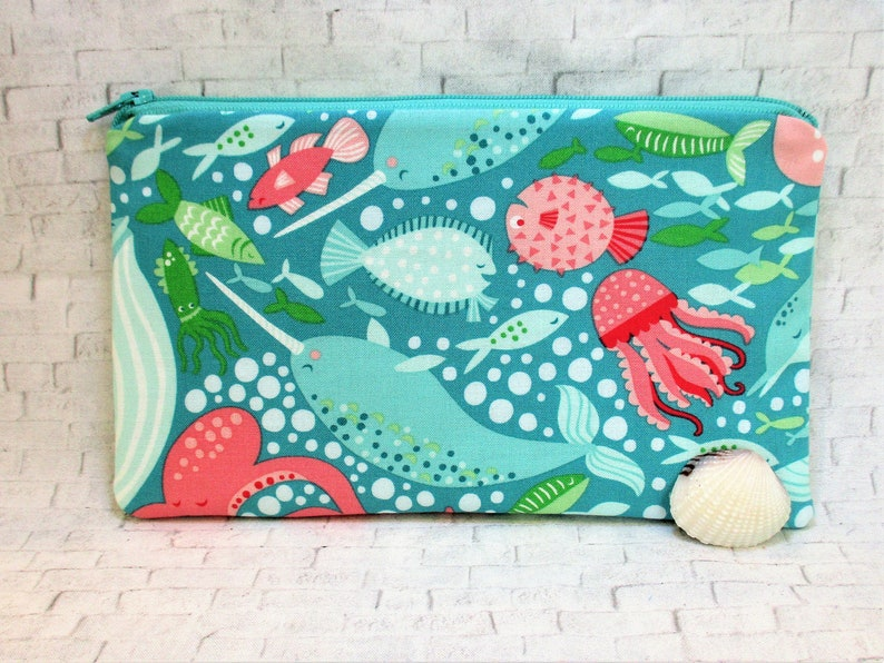 d2b173c7c21c Sea Life Makeup Bag, Cute Zipper Pouch, Small Zipper Travel Bag, Make Up  Purse, Cute Little Pencil Pouch, Whales Narwhals Octopus Squid