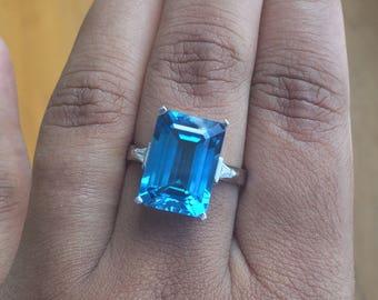 Custom Order Emerald cut Blue Topaz engagement Ring anniversary ring wedding ring cocktail ring statement ring