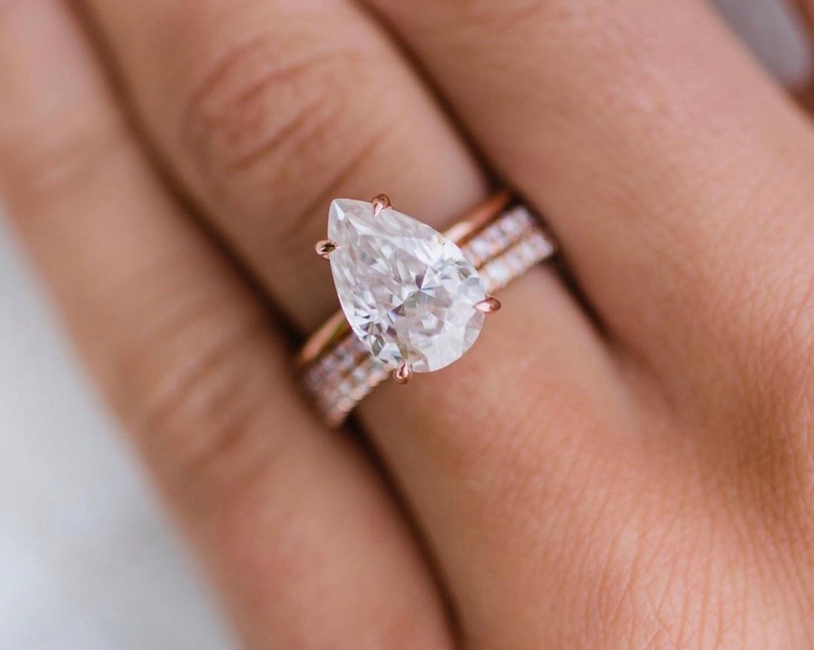 Fabulous Pear cut certified Moissanite Engagement Ring image 2