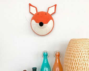 Fox Faux Taxidermy - Felt wall mounted - Animal head - Wall decor - Faux animal head - Wall mounted head - Kids room decor - nursery decor