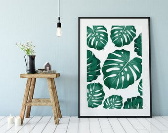 Monstera Leaf Wall Art, Tropical Plants Wall Art, Tropical Wall Decor,  Botanical Print, Tropical Leaves, Tropical Leaf Print, Leaf Decor,