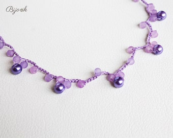 Purple and lilac necklace with crochet beads