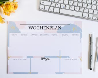 """SALE Weekly planner in """"Brushstrokes"""" design in pastel colors A4 landscape format"""