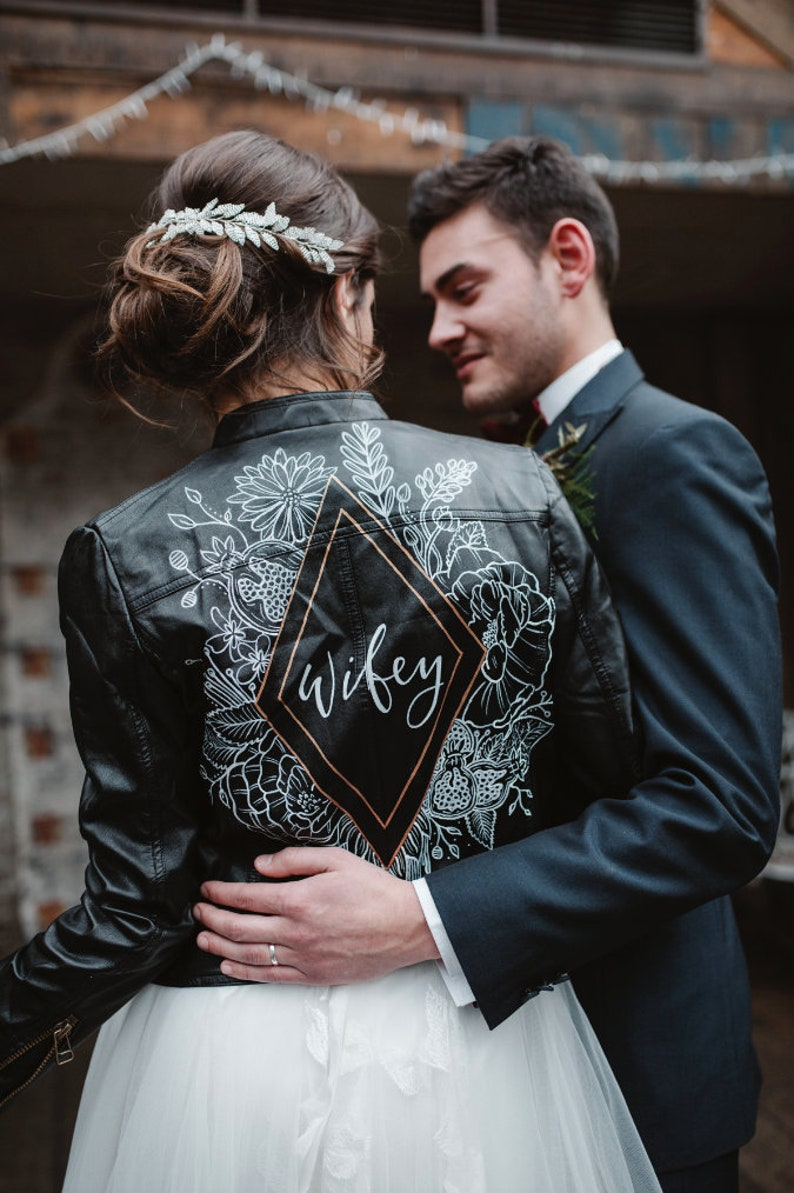 Braut Lederjacke personalisiert