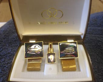 Beautiful Cufflink and Tie Pin Boxed Set