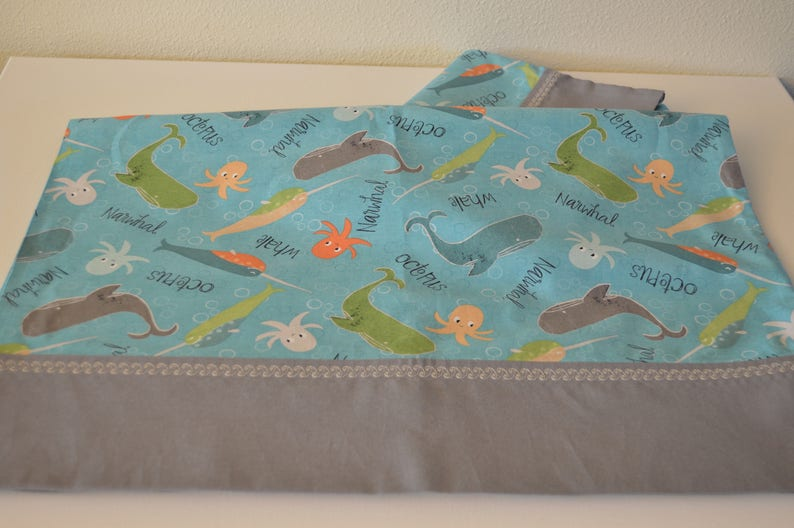 Narwhal Pillowcases Two queen whale pillowcases octopus pillowcases pillowcase set cotton pillowcases ocean Christmas gift