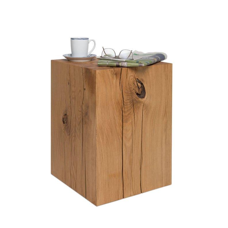 Salontafel Hoogte 50 Cm.Hout Blok Salontafel Eiken 36 X 36 X 50 Cm Massief Hout Etsy