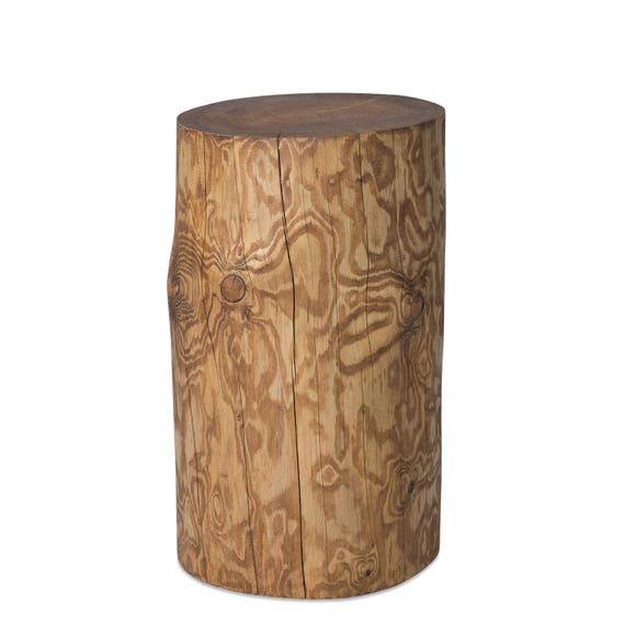 Design Holzklotz Baumstamm Beistelltisch Säule Hocker Nachtisch Dekosäule  Holzsäule Fichte Nussbaum geölt Gartendeko