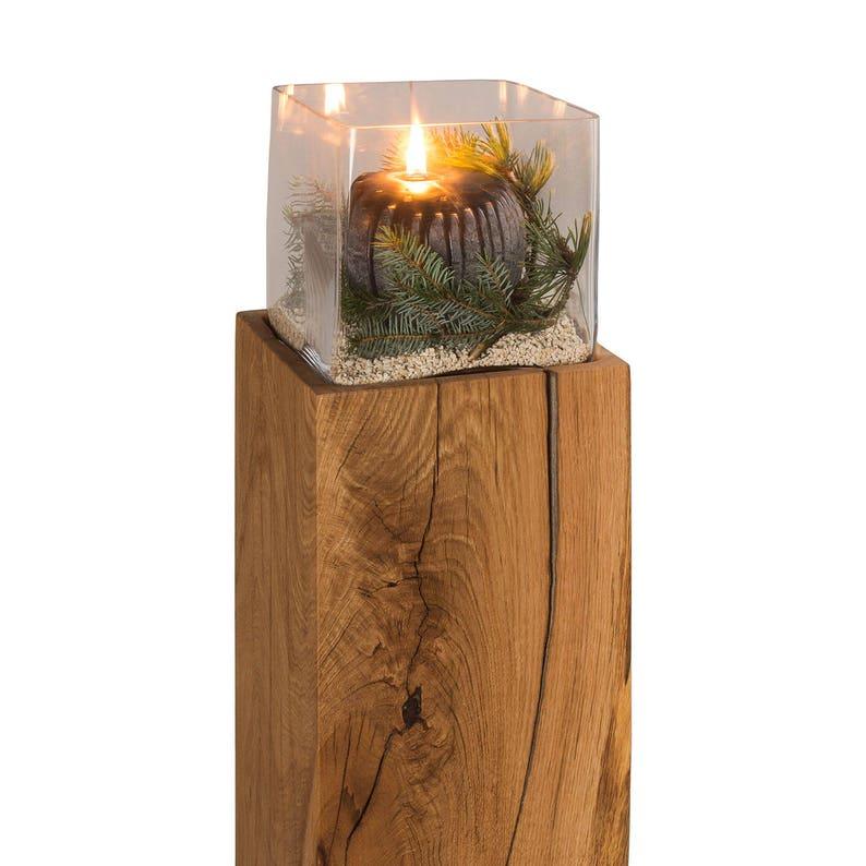 Windlicht Eiche Holz Glas Massivholz Windlichtsäule Dekoration Etsy