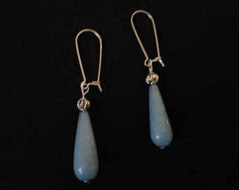 Blue aquamarine and 925 Sterling Silver earrings