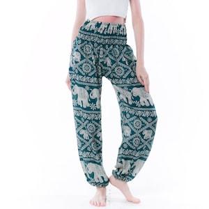 NEW!! Kraft4Life\u00ae Women/'s Smocked Baggy Bohemian Boho Hippie Clothes Yoga Harem Pants elephant Pants Palazzo Casual Pants