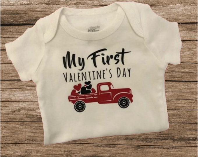 Featured listing image: Valentine's day clothes / Valentine's Day Bodysuit / Baby boy bodysuit / Preemie boy bodysuit / preemie boy clothes /baby boy clothes