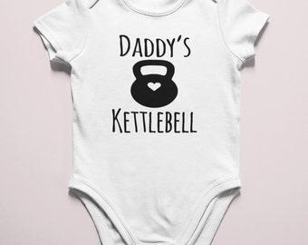 Daddy's Kettlebell / preemie girl bodysuit / athletic baby girl bodysuit / preemie boy bodysuit / athletic baby boy bodysuit