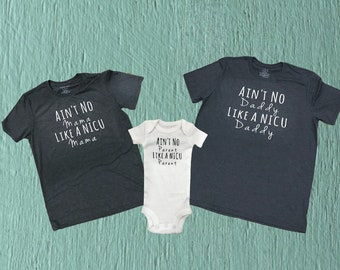 Mom Shirt / dad shirt / mommy and me shirt / daddy and me shirt /preemie Mom Shirt / preemie dad shirt / preemie / Ain't No