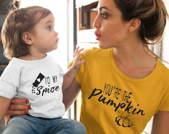 Pumpkin Mommy and Me Shirts, Fall Outfits, You're the Pumpkin to my Spice, Matching Mother Daughter, Autumn T-shirts, Baby Toddler Girl